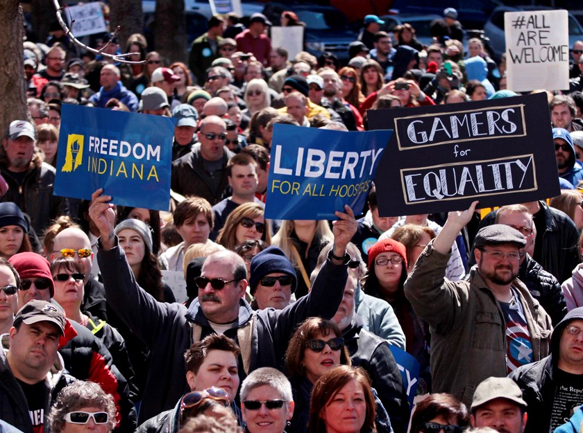 Demonstrators gather at Monument Circle to protest a controversial religious freedom bill recently signed by Governor Mike Pence, during a rally in Indianapolis March 28, 2015. Photo: Reuters