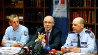 French prosecutor of Marseille Brice Robin (C), Colonel Martial Meuriot (L) and French Gendarmerie General David Galtier (R) attend a news conference in Marseille after the announcement of the discovery of the second black box which records data April 2,