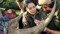 Vietnamese singer Thu Minh listens to a rhino expert in South Africa in April 2014