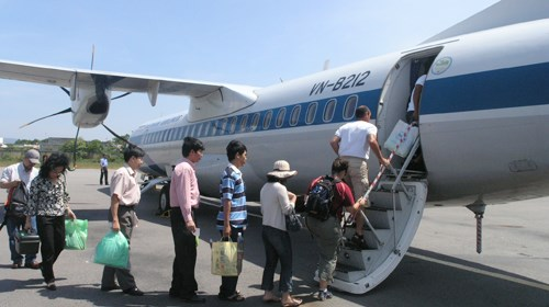 Passengers boarding on a flight at the international Phu Quoc airport in Kien Giang province.