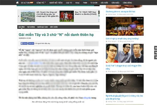 A screenshot of a story published by Tri Thuc Tre on August 12 that inspired the government to shut down the site and fine its owner nearly $10,000.