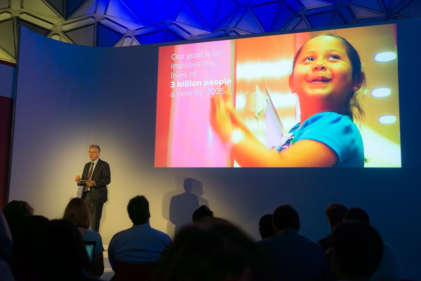 Royal Philips chief executive Frans van Houten speaks at the Philips Innovation Experience in Eindhoven, Amsterdam. Photo: Tran Tam