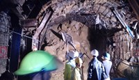 At around 3 p.m., rescue teams were drilling through up to 15 meters of rocks and debris in the collapsed tunnel