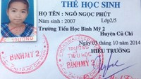 A student card of Vietnamese girl Ngo Ngoc Phut is found beside her disintegrating body in Svay Rieng bordering province, Cambodia. Photo courtesy of the police.