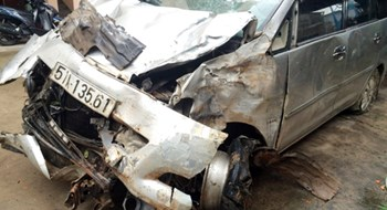 The car is badly damaged after crashing into a temple on Tuesday morning. Photo courtesy of the police.