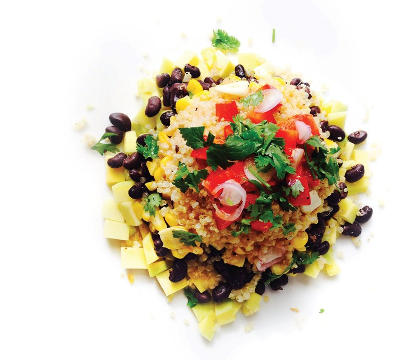 Quinoa, mango and black bean salad. Photo credit: Prem