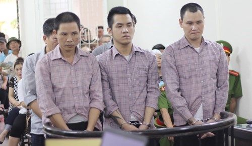 Three of the five people involved in a brutal stabbing at a court on Friday. Photo: Nam Anh