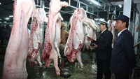 Health officials inspect a slaughterhouse in Vietnam. Photo: OMARD