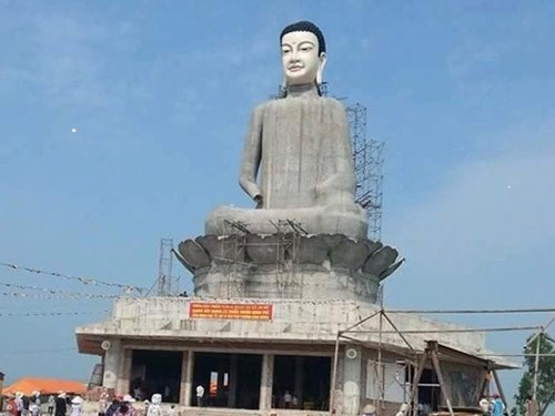 A photo taken by a local man shows the Buddha statue just days before it collapsed on Tuesday afternoon.
