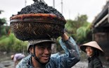 A man carrying a basket of charcoal on his head. Photos: Ngoc Thang
