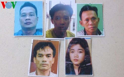 Nguyen Xuan Ngoc (top, left) and four other people are accused of running a methamphetamine smuggling ring in HCMC.