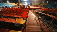 The temporary seating stand of a traveling circus show which collapsed on Wednesday. Photo: Tuoi Tre