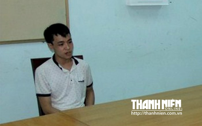 Ho Chi Bao, 25, at a police station in Quang Tri province on  Friday. Photo: Nguyen Phuc.