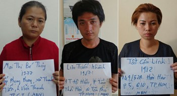 Police mugshots of the three suspects, Mai Thi Be Thuy, Tat Cam Linh and Luu Tuan Khanh