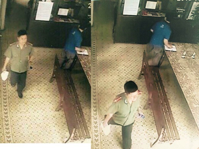A photo taken from a security camera showing Chu Ngoc Hai wearing a police uniform in Tan Binh District