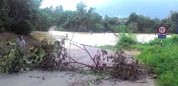 A local uses tree branches to block a flooded bridge in Khanh Hoa Province. Photo: Nhu Thong/Tuoi Tre