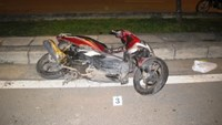 Photo supplied by police shows a damaged motorbike of a Danish man killed in a crash early Saturday morning.