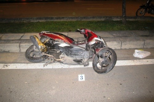Photo supplied by police shows a damaged motorbike of a Danish man killed in a crash early Saturday morning