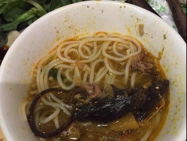 A rat allegedly fished out from a hot pot at a restaurant in Ho Chi Minh City. Photo supplied by a customer
