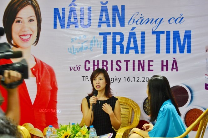 Christine Ha introduces her cook book in Ho Chi Minh City on Wednesday. Photo credit: Minh Trang/ Tuoi Tre