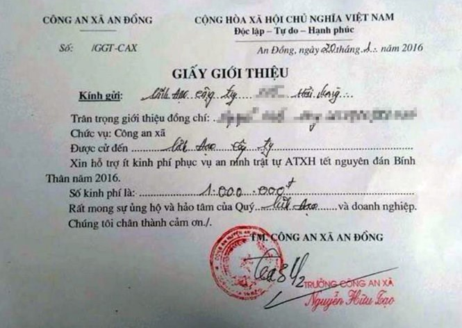 A notice sent by police officers in Hai Phong City, demanding local companies to support money for police's service. Photo credit: Tuoi Tre