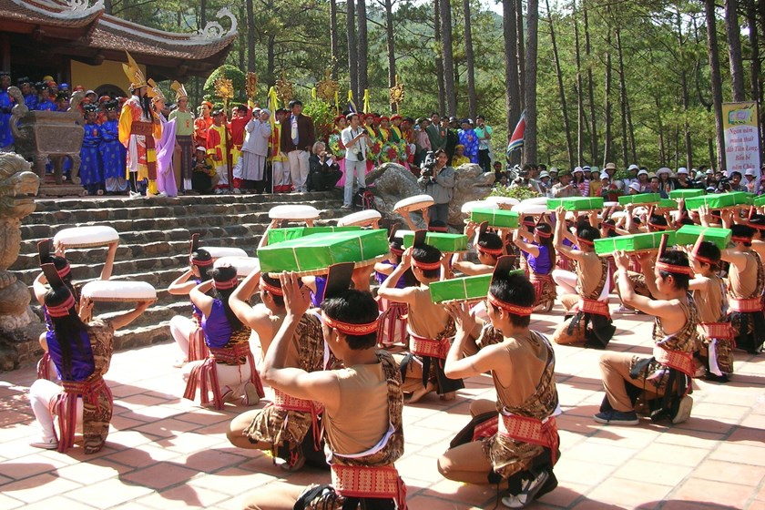 A file photo shows a performance during the Hung Kings' Temple Festival in Phu Tho Province