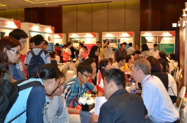 Students and parents attend the Canadian Education Spring Fairs 2015. File photo