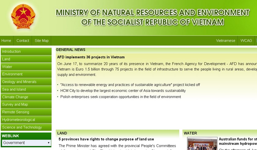 A screenshot of the English website of Vietnamese Ministry of Natural Resources and Environment.