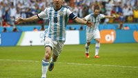 Argentina's Lionel Messi celebrates after scoring against Nigeria June 25. Photo credit: Reuters