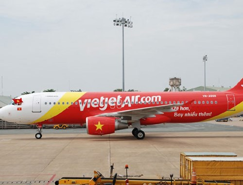 A VietJetAir plane at an airport in Vietnam. A VietJetAir flight made a wrong landing in Nha Trang on June 19.