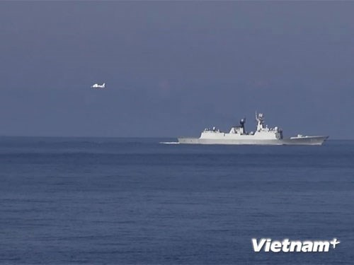 Chinese ship and aircraft incursing Vietnam's territory in the East Sea. Photo credit: Vietnam+