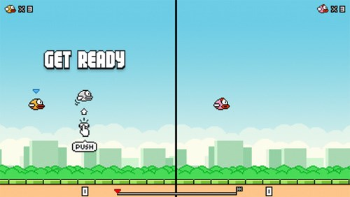 The new version of Flappy Bird supports two players.