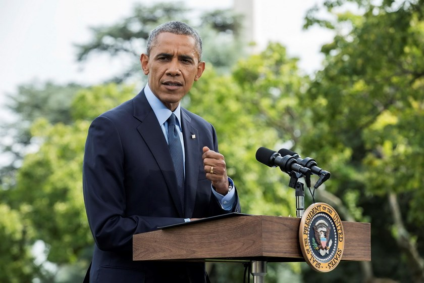 U.S. President Barack Obama speaks about new sanctions imposed on Russia as he departs the White House in Washington July 29, 2014. Obama said on Tuesday the United States has expanded sanctions against Russia over its support for rebels in eastern Ukrain