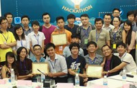 Three winning teams at the Hackathon Code for Change contest. Photo credit: Live&Learn