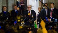 Germany's Foreign Minister Frank-Walter Steinmeier (C) briefs the media after talks with his counterparts from Russia, Ukraine and France at Villa Borsig, the guest house of the German Foreign Ministry in Berlin, early August 18. Photo credit: Reuters
