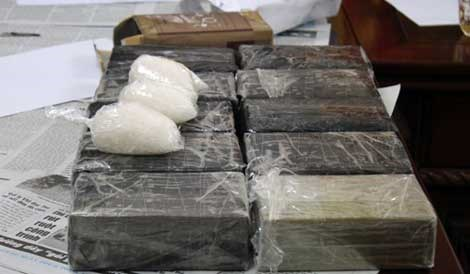 More than seven kilograms of heroin seized by Nghe An police on August 19. Photo credit: CAND Online