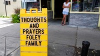 A sign outside a shop remembers James Foley in his hometown of Rochester, New Hampshire August 20. Photo credit: Reuters