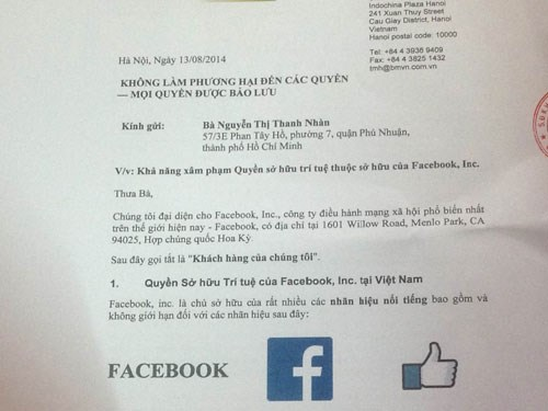 A letter from Facebook's local attorney threatening legal action if a restaurant doesn't remove the social media site's name from its promotional materials. Photo: Trung Hieu