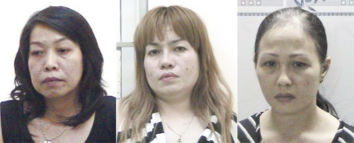 (From left) Nguyen Thi Ngoc Thu, Nguyen Thi Ngoc Suong and Tang Do Lien Huong face drug smuggling charges.