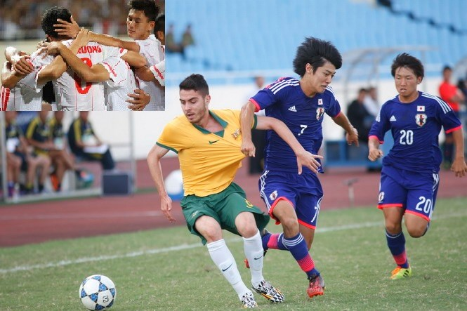 A Japanese Under-19 player (R) vies for the ball with an Australian player. Japan's 4-3 victory over Australia helps Vietnam (inset) advance to semifinal round. Photo: Bach Duong