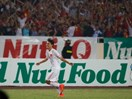 Van Toan celebrates his goal in a qualifying match between Vietnam and Japan on Tuesday. Photo: Bach Duong