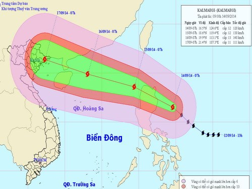 Projected path of typhoon Kalmaegi. Photo credit: NCHMF