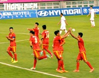 Vietnamese players celebrate a goal in their Asian Games 2014 football match against Kyrgyztan on Monday.
