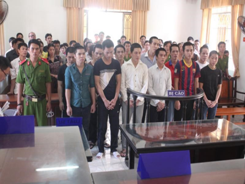 The defendants at the trial in DOngNai Province on September 23, 2014. Photo: Le Lam