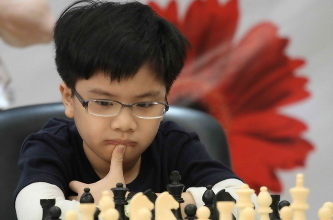 Nguyen Anh Khoi, 11, claimed his second youth medal on Monday. Photo: Kha Hoa