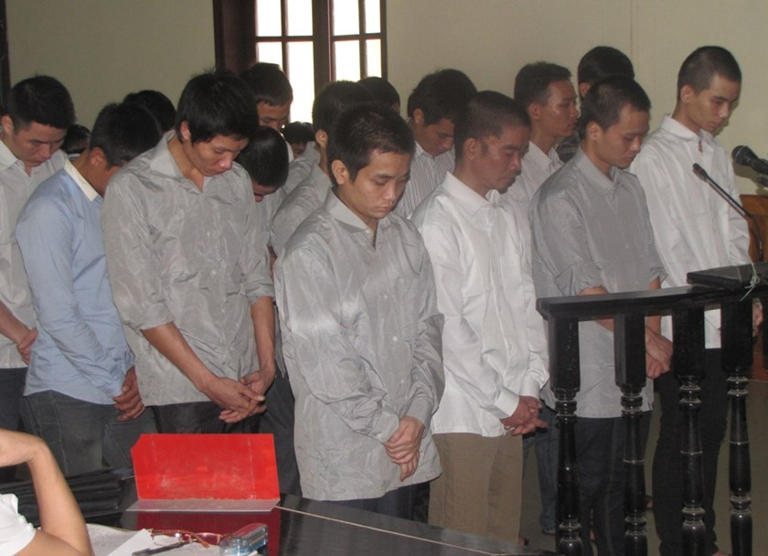The defendants at trial in Ha Tinh on Tuesday. Photo: Nguyen Dung