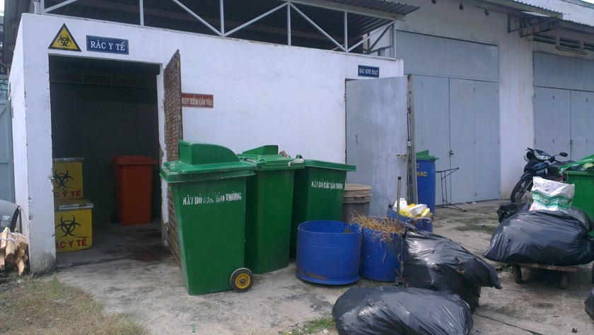 Garbage at the Orthopedics and Rehabilitation Hospital in Ho Chi Minh City, which has admitted to discharging untreated wastewater into the sewers. Photo: Minh Hung
