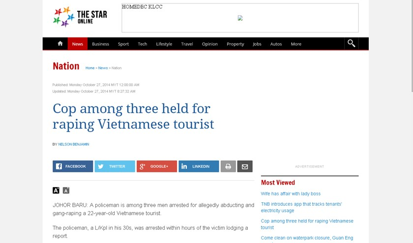 A screen shot of The Star newspaper's report about a Vietnamese tourist being raped in Johor Bahru