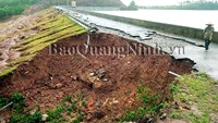 A section of Dam Ha Dong Reservoir's main dam was also damaged on Thursday.