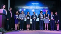 Reresentatives of companies listed in Vietnam's 100 Best Places to Work 2013. Photo credit: Anphabe